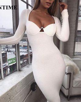 Vestido sexy de manga larga