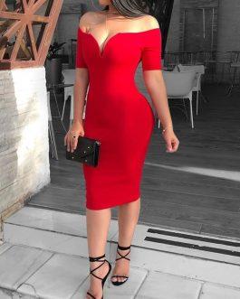 Elegante vestido sin hombros
