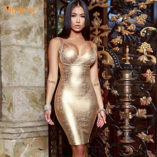Vestido de vendaje dorado