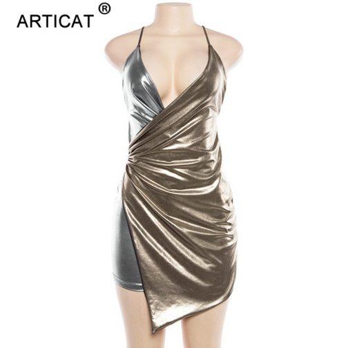 Vestido de contraste plata y oro 4