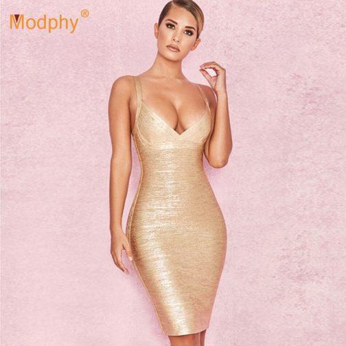 Vestido de vendaje dorado  1