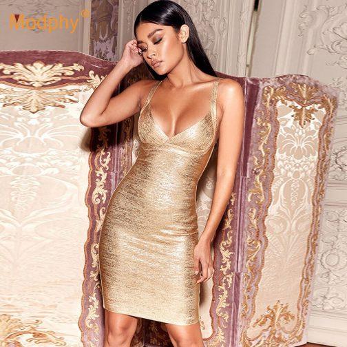 Vestido de vendaje dorado  2