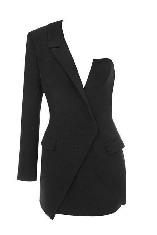 Vestido de una sola manga larga elegante  1
