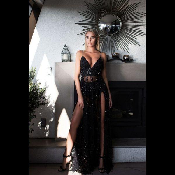 Vestido de fiesta sexy elegante largo con flecos y lentejuelas 1
