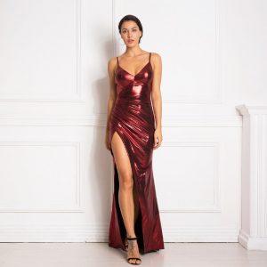 Vestido plisado largo brillante