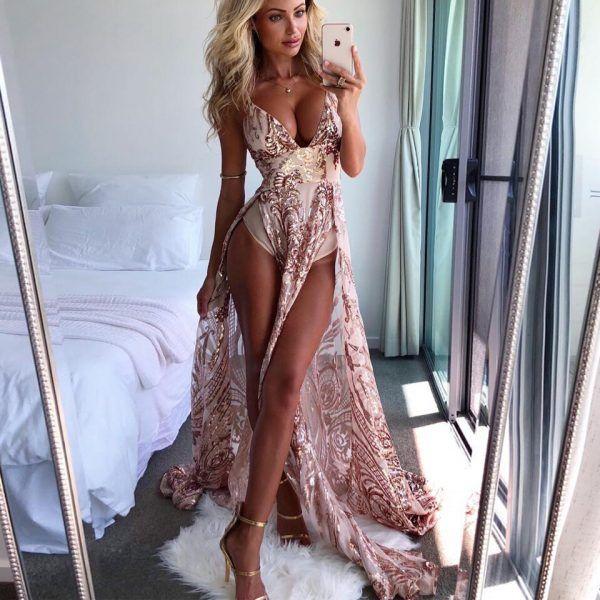 Vestido largo brillante estampado 2