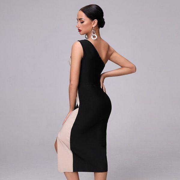 Vestido desigual de un hombro 3