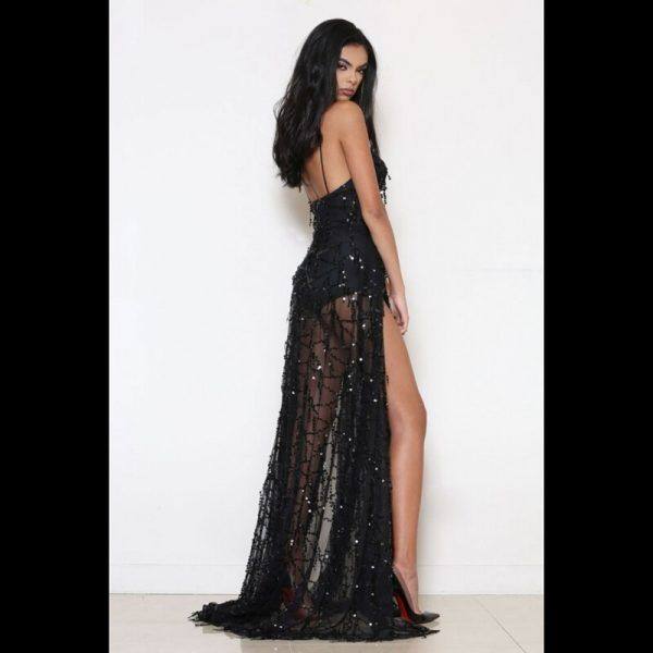 Vestido de fiesta sexy elegante largo con flecos y lentejuelas 4