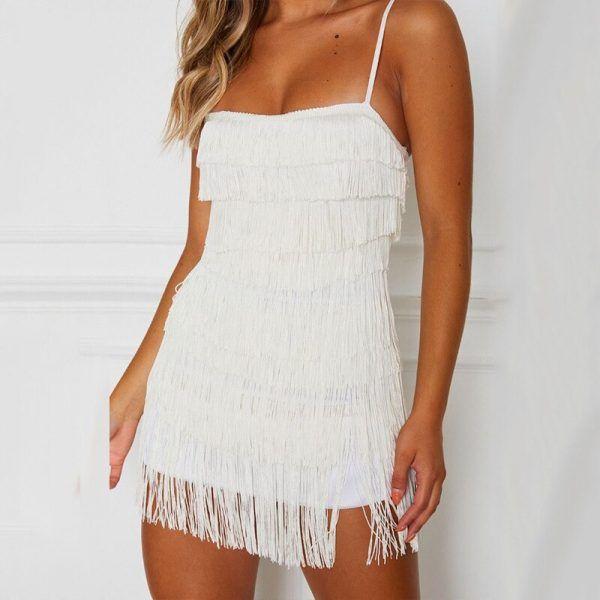 Vestido de flecos corto 3