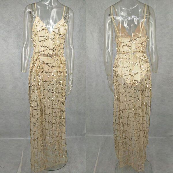 Vestido de fiesta sexy elegante largo con flecos y lentejuelas 6