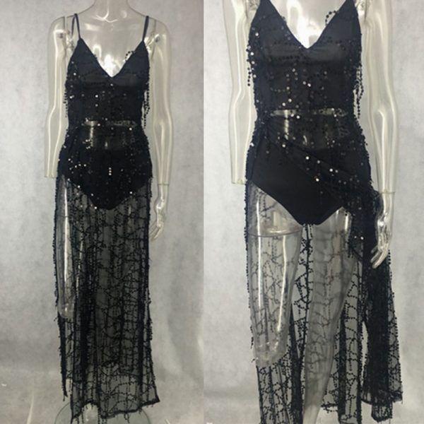 Vestido de fiesta sexy elegante largo con flecos y lentejuelas 5