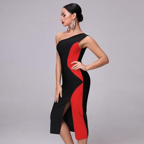 Vestido desigual de un hombro 5