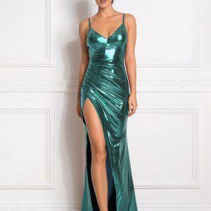 Vestido plisado largo brillante 14