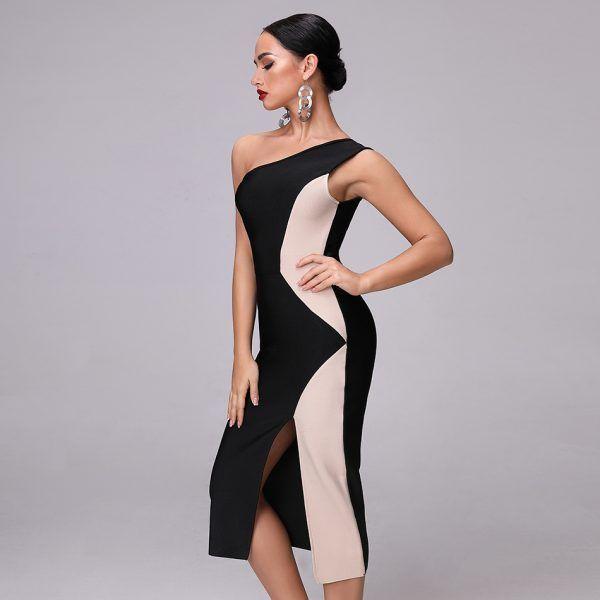 Vestido desigual de un hombro 2